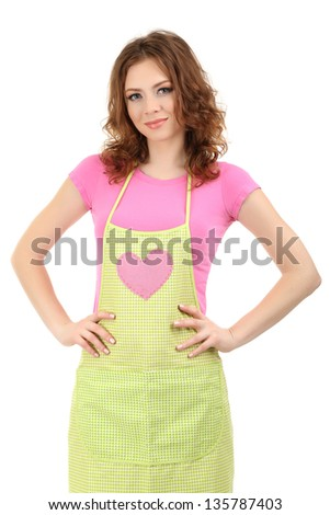 Young woman wearing kitchen apron, isolated on white - stock photo