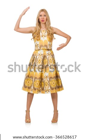 Young woman wearing long summer dress isolated on white - stock photo