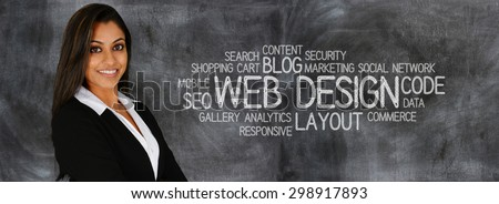 Young woman who works as a web designer - stock photo