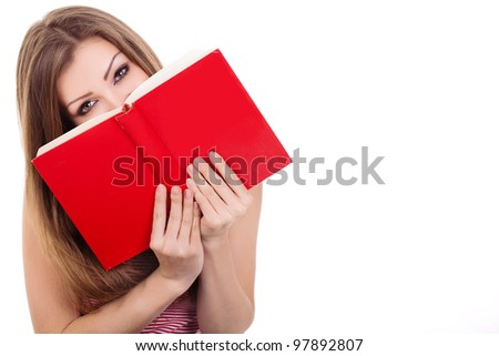 Young woman with a book - stock photo