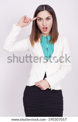 young woman with active expressions - stock photo