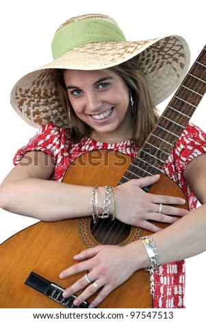 Young woman with an acoustic guitar - stock photo