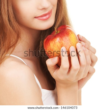 Young woman with apple - stock photo