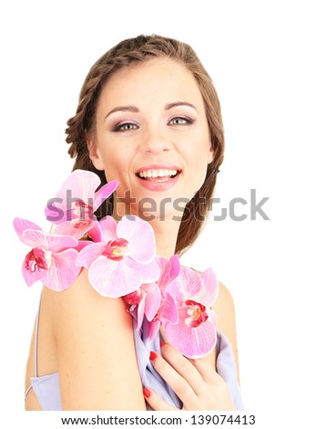 Young woman with beautiful hairstyle and flower, isolated on white - stock photo