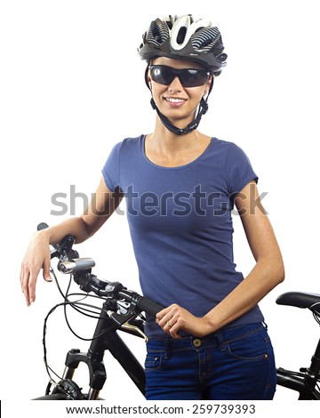 Young woman with bicycle - stock photo