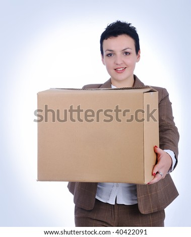 Young woman with box - stock photo