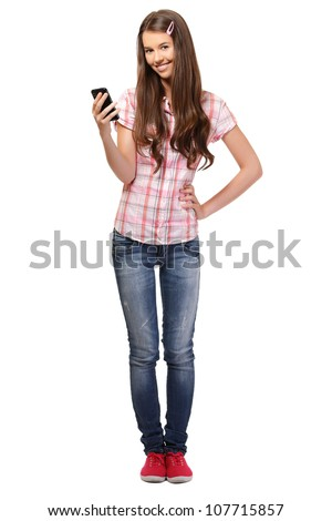 young woman with cellphone isolated on white - stock photo
