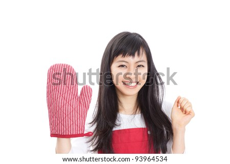 Young woman with cooking glove, isolated on white background. - stock photo