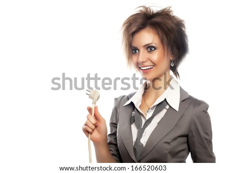 Young  woman with electrical plug studio shot - stock photo