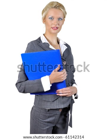 Young woman with file folder - stock photo