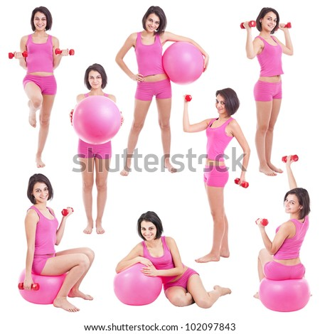 Young woman with fit ball ,collage - stock photo