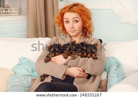 Young woman with four puppies, cute Yorkshire terrier. When the puppies were in the home, all the people care for them. Girl with Yorkshire four pups. Best friend. Yorkshire puppy. Very small puppies - stock photo