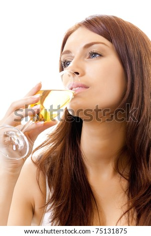 Young woman with glass of champagne, isolated on white background - stock photo
