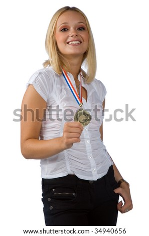 young woman with gold medal - stock photo