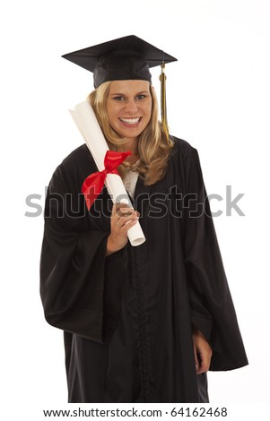 Young woman with graduation gown and diploma - stock photo
