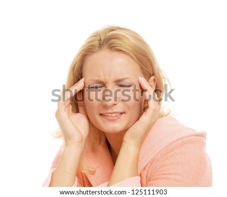 Young woman with head pain on white background - stock photo