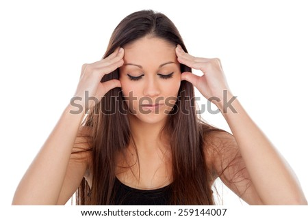 Young woman with headache isolated on a white background - stock photo