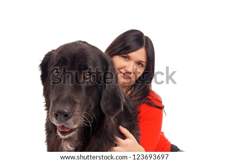 Young woman with her dog / Woman and Dog - stock photo