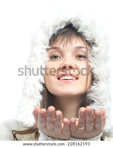 young woman with long brown hair  in fur white hat.isolated on white - stock photo