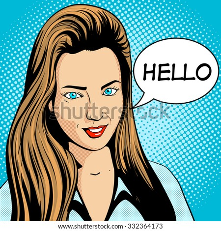 Young woman with long hair looking pop art retro raster illustration. Comic book style imitation - stock photo