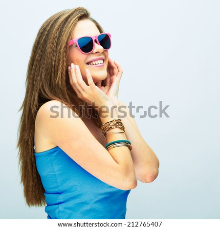 young woman with long hair looking side . dreaming teenager girl . - stock photo