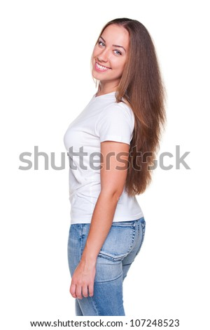 young woman with long hair posing over white background - stock photo