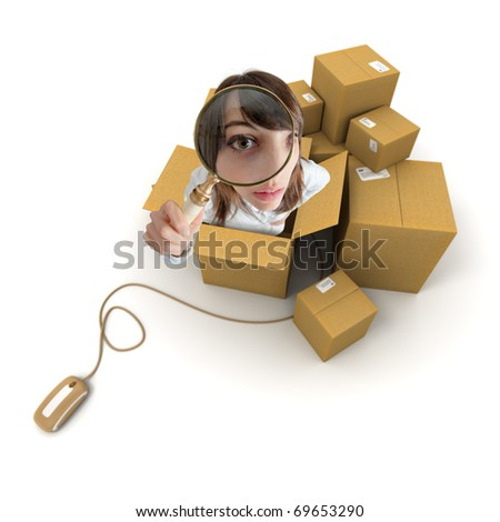 Young woman with magnifying glass and cardboard boxes connected to a computer mouse - stock photo