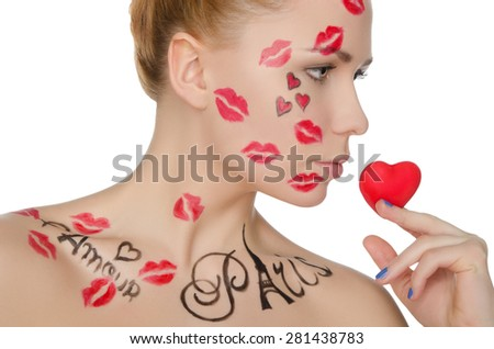 young woman with make-up on topic of France isolated on white - stock photo