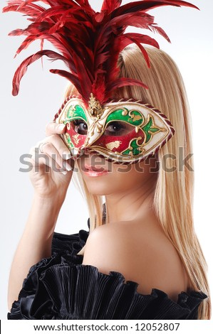 Young woman with mask - stock photo