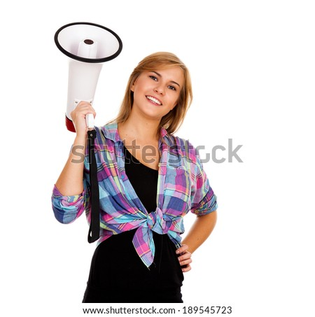young woman with megaphone, white background - stock photo