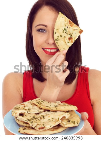 Young Woman With Naan Bread - stock photo