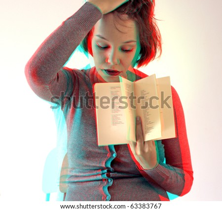 young woman with opened book  (anaglyph effect. need stereo glasses to view in 3D) - stock photo