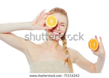 Young  woman with oranges in her hands - stock photo