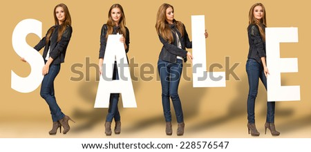 Young woman with sale letters - stock photo