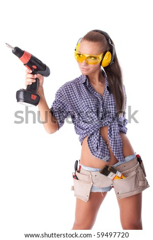 Young woman with screwdriver on a white background. - stock photo