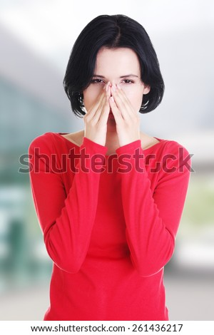 Young woman with sinus pressure pain. - stock photo