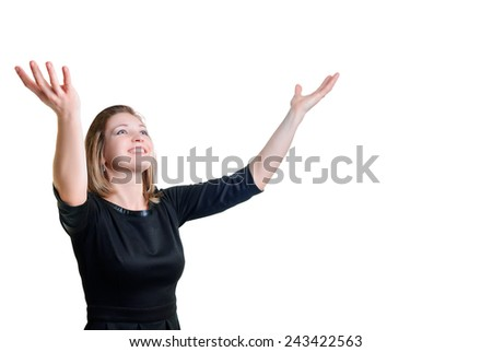 young woman with smile stretched his hands up - stock photo