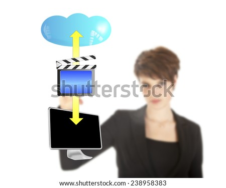 Young woman with streaming video symbol isolated on white background - stock photo