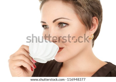 Young woman with tea or coffee cup isolated on white background - stock photo