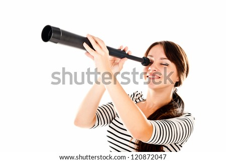 young woman with telescope isolated on a white background - stock photo