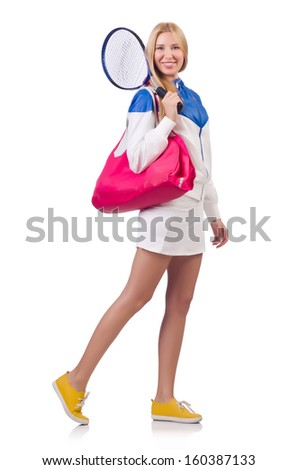Young woman with tennis raquet - stock photo