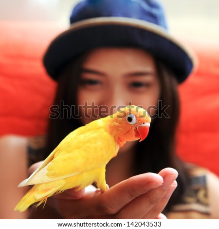 young woman with yellow bird on the hand - stock photo