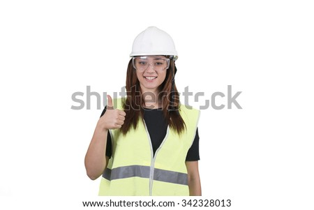 Young woman worker thumb up on white background isolated - stock photo
