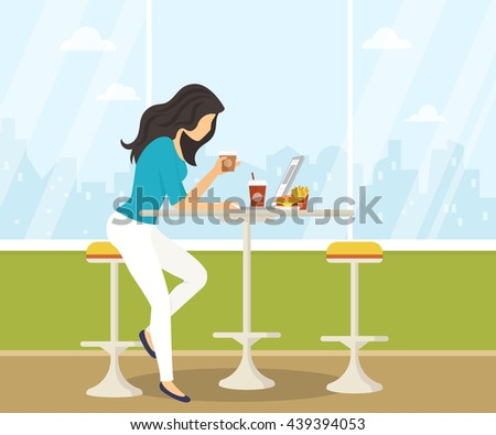 Young woman working with laptop, eating burger and drinking coffee in student cafe. Flat illustration of students lifestyle during preparing for the exams - stock photo
