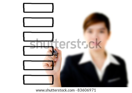 Young woman writing plan on a clear screen, add your own text or drawing. - stock photo