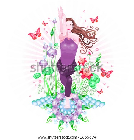 young women doing yoga with butterflies and lotuses - stock photo