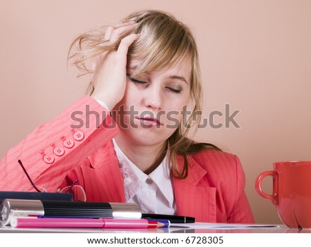 young women fall asleep - stock photo