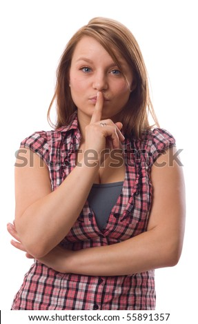 young women gesturing to be quiet. - stock photo