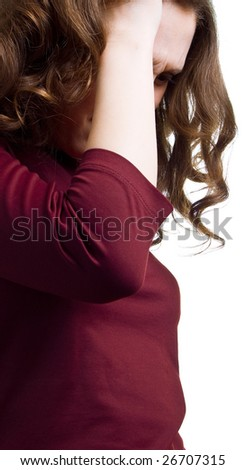 Young women have a headache. On white background - stock photo