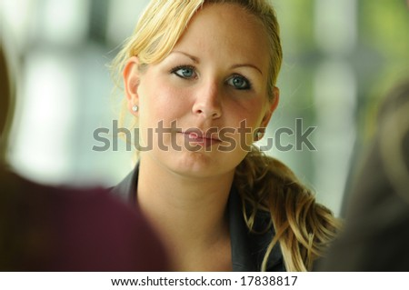 Young women is paying attention. - stock photo